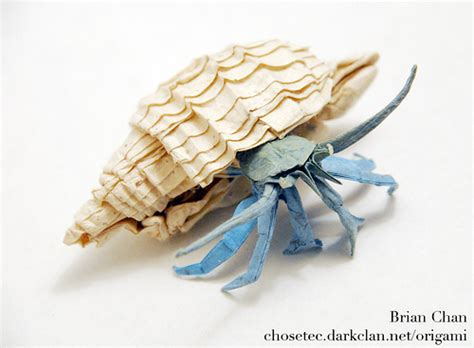origami conch shell hermit crab origami folded by brian chan from a square