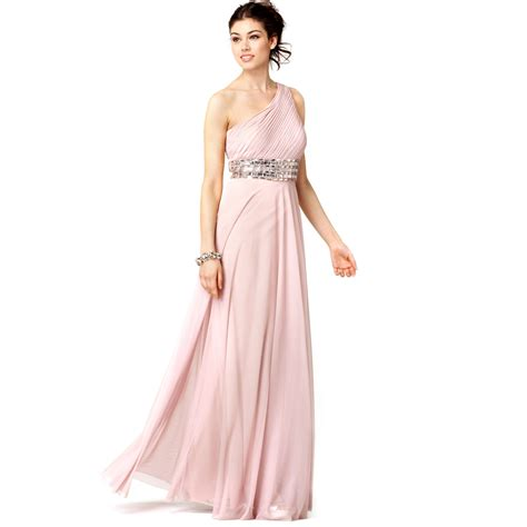 js collection beaded gown js collections sleeveless one shoulder beaded empire waist