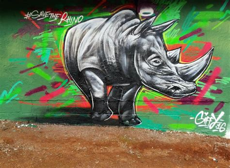 spray painting in kzn giffy duminy save the rhino artist graffiti gifford