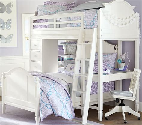 pottery barn loft bed with desk madeline bunk system with bed set pottery barn