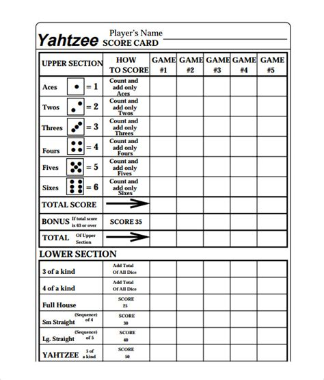 scoreboard for card 10 yahtzee score sheet templates free sle exle