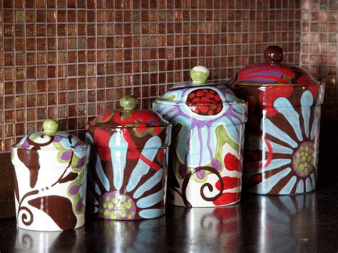 Black Kitchen Canisters Sets canister set of four urban fusion colorful pottery by