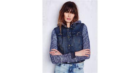 free knit hooded denim jacket free womens knit hooded denim jacket in blue