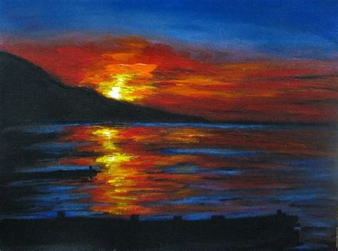 acrylic painting on canvas cranes sunset 3000 picture sunset seascape acrylic painting easy