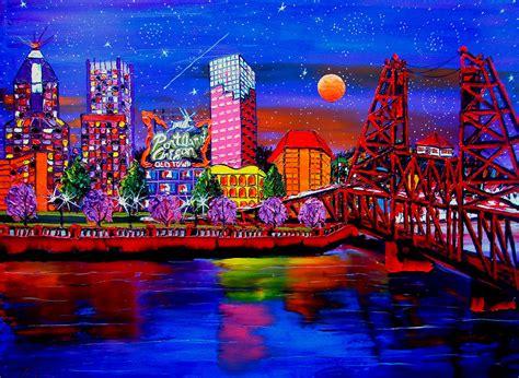 paint nite portland oregon portland starry city lights 52 painting by portland