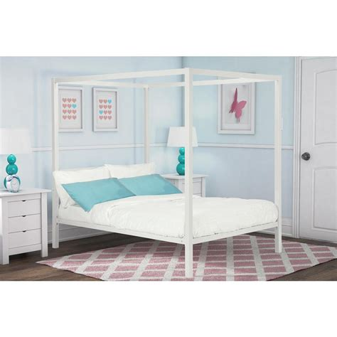 dhp modern metal canopy size bed frame in white