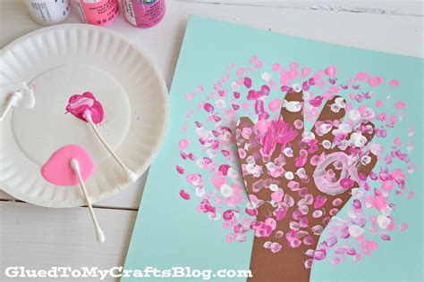 kid and craft q tip painted handprint cherry blossom tree kid craft