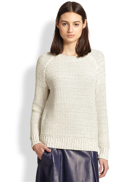 chunky knit sweaters vince chunky knit sweater in gray lyst