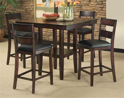 Height Dining Table Set 5 Counter Height Dining Room Set Table Chair Dinette Furniture Rustic New Ebay