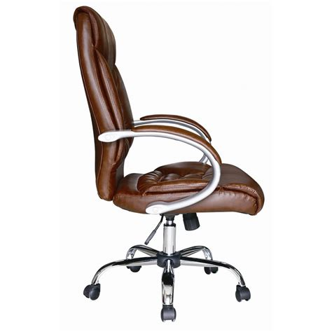 leather swivel office chair brown faux leather luxury high back swivel executive pc
