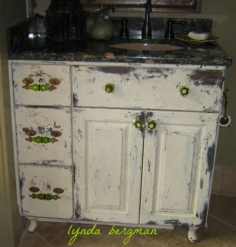 Distressed White Bathroom Cabinets by Lynda Bergman Decorative Artisan Painting Distressing A