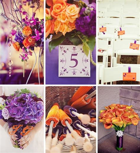 orange color theme fall wedding ideas and invitations purple and orange wedding