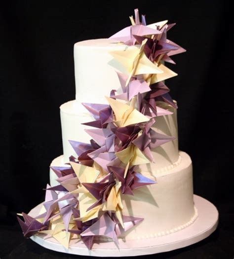 cake origami origami cranes wedding cake this simple three tiered