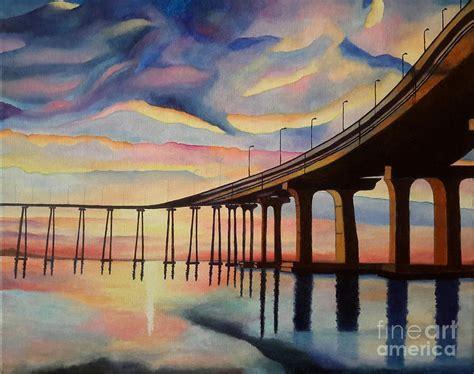 acrylic painting on canvas cranes sunset dramatic sunset coronado bridge in san diego original