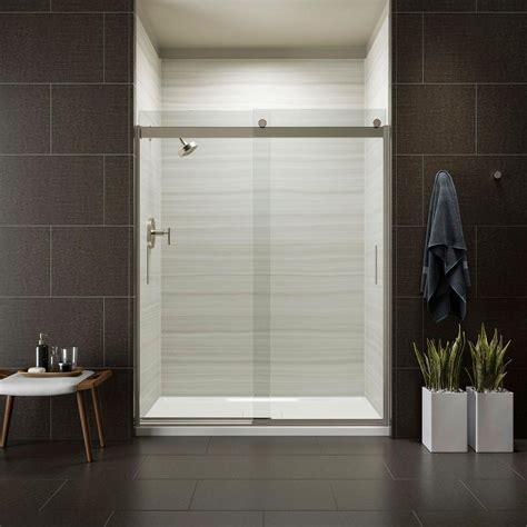 kohler sliding shower doors kohler levity 59 in x 74 in semi frameless sliding