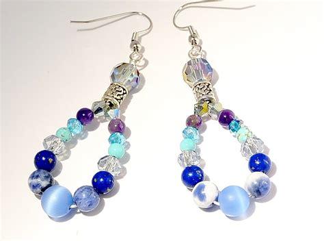 beaded dangle earrings beaded dangle earrings blue lapis teardrops blue dangle