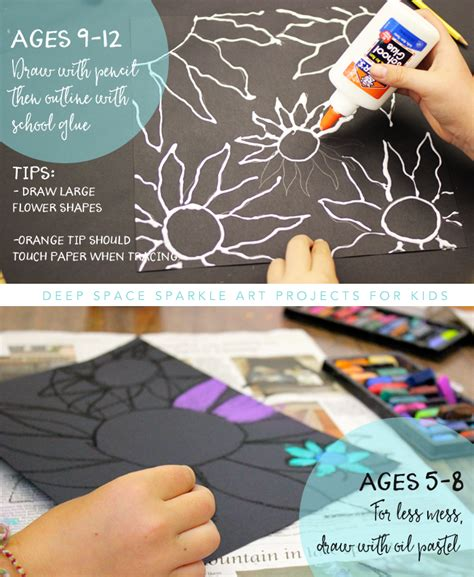 arts and crafts for ages 8 12 chalk flowers project 2 ways space sparkle
