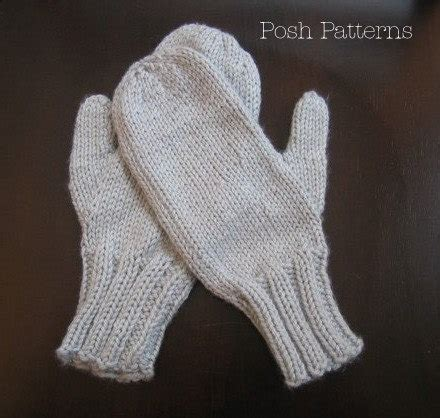 easy mitten knitting pattern knitting pattern simple two needle mittens by poshpatterns