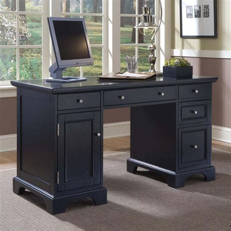 black computer desks for home shop home styles bedford black computer desk at lowes