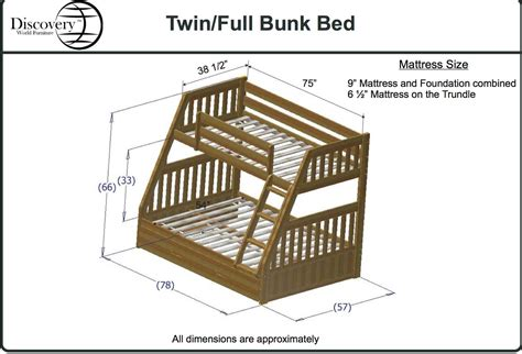 dimensions of bunk beds discovery world furniture honey mission