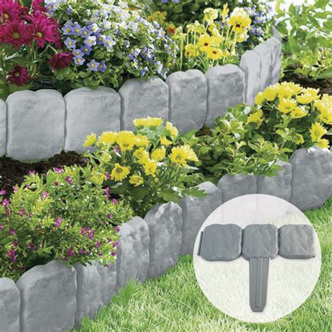 garden flower borders grey slab effect garden border plastic edging flower
