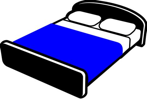 bed with blue blanket clipart vector clip art online