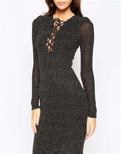 knit dress with bardot metallic knit midi dress with lace up front in gray
