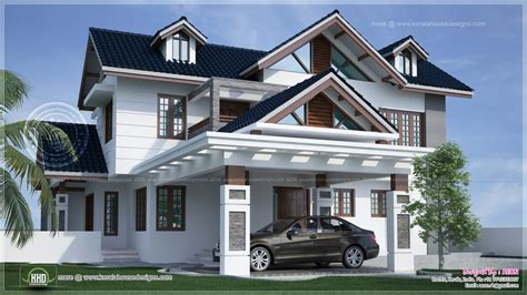 exterior design of car river side kerala style residence exterior design home