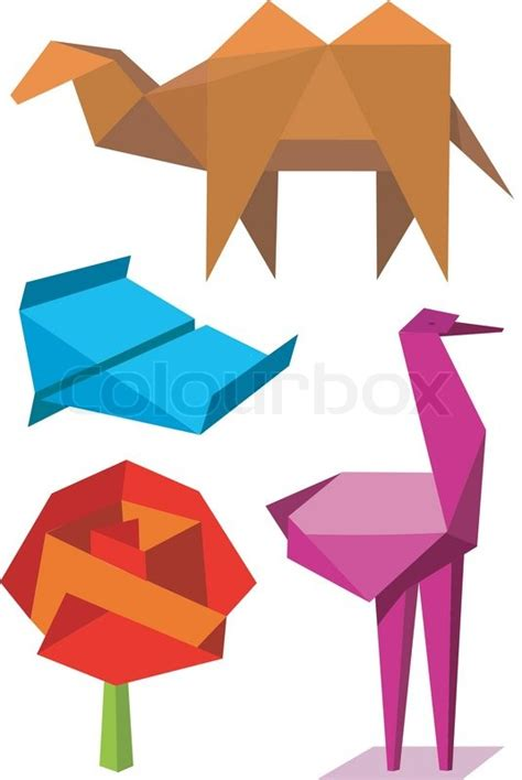 origami objects colorful origami objects stock vector colourbox