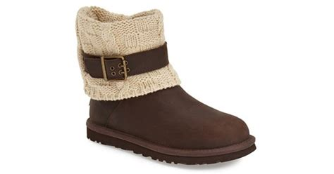 cable knit boots ugg ugg cassidee cable knit boot in brown chestnut knit
