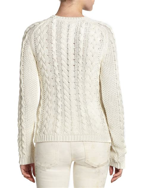 womens ralph cable knit sweater polo ralph cotton cable knit sweater in lyst
