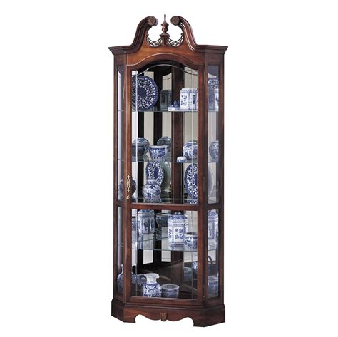 corner curio cabinets howard miller cherry corner collectible curio cabinet 680205 berkshire
