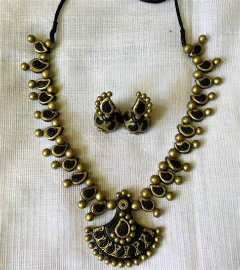 black necklace designs india buy black and antique gold and terracotta jewellery
