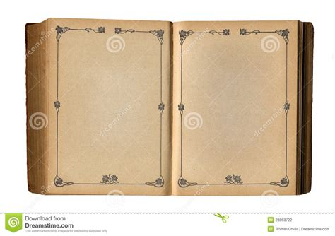 book picture frames open empty book with antique floral page frame stock