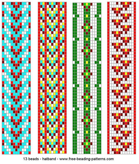 bead pattern 13 wide hatband beading loom patterns 2