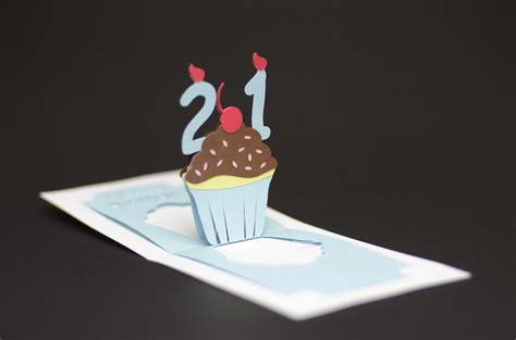 pop card detailed cupcake pop up card template