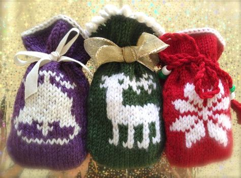knit gifts festive gift bags