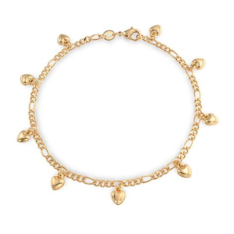 jewelry and charms gold filled figaro chain charm bracelet anklet 9 inch