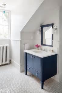 blue vanity bathroom navy washstand with navy mirror transitional bathroom