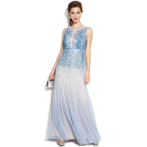 sleeveless beaded illusion gown papell sleeveless beaded illusion gown in blue
