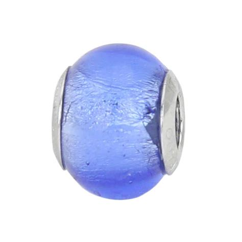 murano glass charm charm sterling silver blue murano glass charm bead