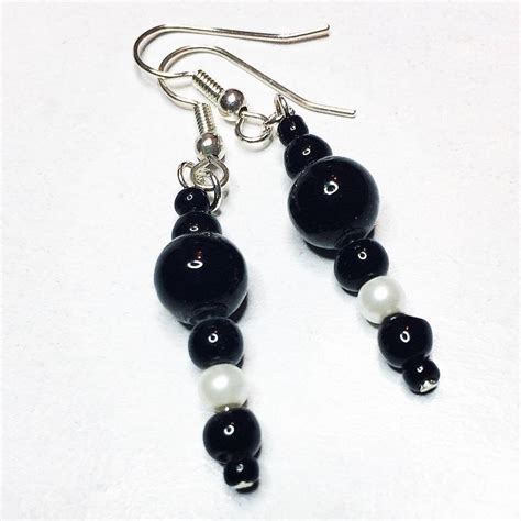 Black And White Bead Earrings Vintage Black