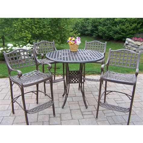 bar height patio dining set oakland living elite cast aluminum bar height patio dining