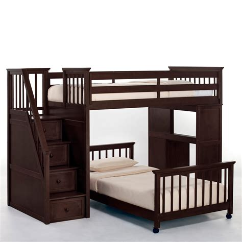 stairway bunk beds schoolhouse stairway loft bed chocolate bunk beds