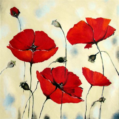 acrylic painting flowers canvas canvas print of painting poppies flower painting
