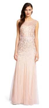 beaded illusion gown papell beaded gown with illusion neck lyst