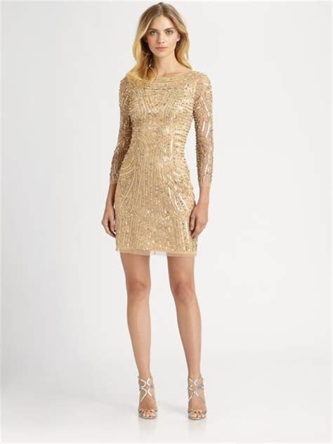 gold beaded gowns aidan mattox beaded dress in gold lyst