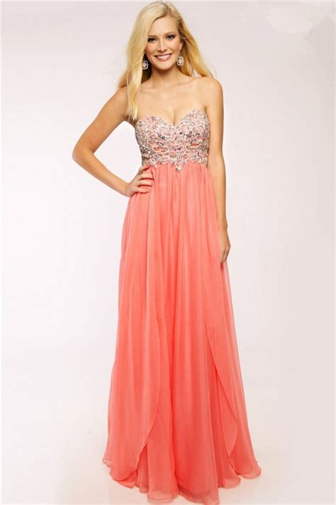 beaded homecoming dresses flowing a line strapless sweetheart coral chiffon beaded