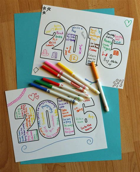 year kid crafts 2016 word printable for make and takes