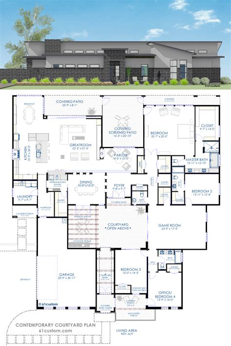 modern house plan contemporary courtyard house plan 61custom modern house plans